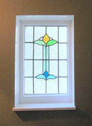 Stained glass window in one of Regina's renovated Norris cottages