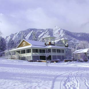 The dining hall amidst the snow at Colorado Chautauqua